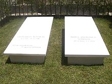 La tomba di Leonardo Sciascia accanto a quella della moglie, Maria Andronico, presso il cimitero di Racalmuto.