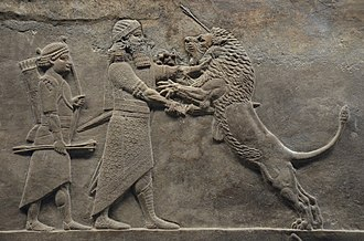 King of Kings - King of Kings was among the many titles used by King Ashurbanipal of the Neo-Assyrian Empire (depicted strangling and stabbing a lion).