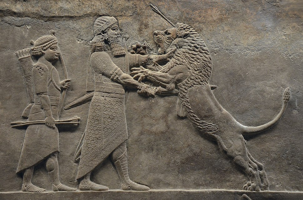 Sculpted reliefs depicting Ashurbanipal, the last great Assyrian king, hunting lions, gypsum hall relief from the North Palace of Nineveh (Irak), c. 645-635 BC, British Museum (16722368932)