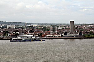 Alexandra Tower, Liverpool - Image: Seacombe Ferry, River Mersey (geograph 3146440)