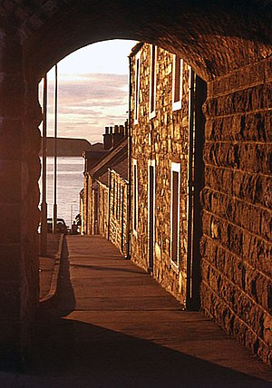 Cullen, Moray - A glimpse through the small side arch of the railway viaduct across Seafield Street