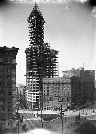 Smith Tower - Smith Tower construction, February 1913
