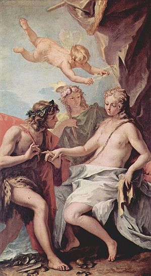 "Catullus 64 - Ariadne being discovered by Dionysos on the island of Naxos, where she was abandoned by Theseus after helping him kill the Minotaur. Ariadne is being crowned with stars, corresponding to the constellation Corona (""crown"")."