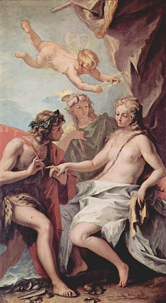 """Catullus 64 - Ariadne being discovered by Dionysos on the island of Naxos, where she was abandoned by Theseus after helping him kill the Minotaur. Ariadne is being crowned with stars, corresponding to the constellation Corona (""""crown"""")."""