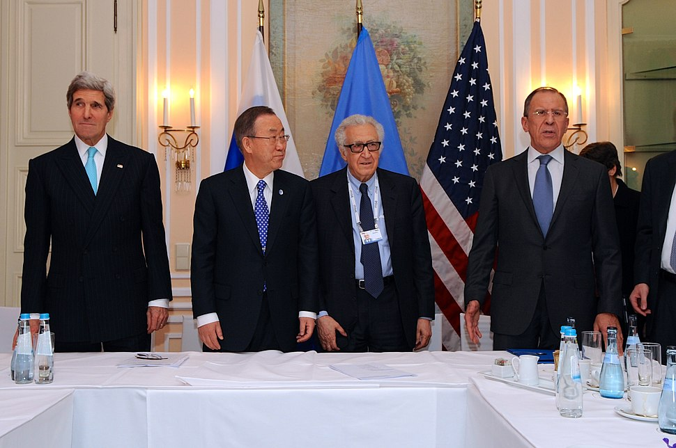 Secretary Kerry, UN Secretary-General Ban Ki-moon, UN Special Representative Brahimi, and Russian Foreign Minister Lavrov Before a Trilateral Meeting (12242046963)