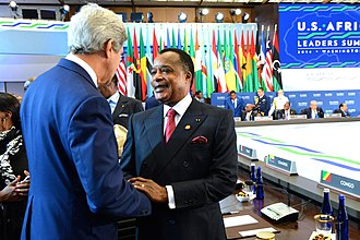 Denis Sassou Nguesso - Nguesso meeting John Kerry at the United States–Africa Leaders Summit in 2014.