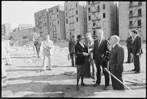 Patricia Roberts Harris - Secretary of H.U.D. Patricia Harris, Jimmy Carter and New York Mayor Abraham Beame tour the South Bronx. - NARA - 176392