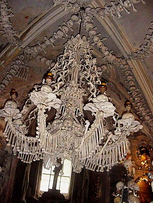 Macabre - Chandelier of bones and skulls, Sedlec Ossuary, Czech Republic