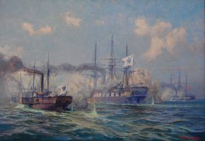 Battle of Jasmund (1864) - Sjælland (right) engaging with the paddlewheel steamer Loreley and the corvette Nymphe. Painting by Alex Kircher.