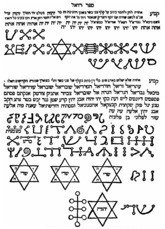 Grimoire - An excerpt from Sefer Raziel HaMalakh, featuring magical sigils (or סגולות, seguloth, in Hebrew).