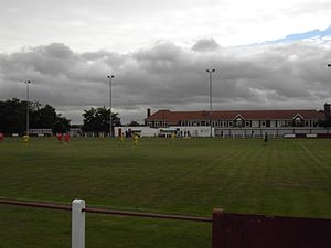 Selby Town F.C. - Image: Selby town changing rooms with dugouts school pitchside terrace