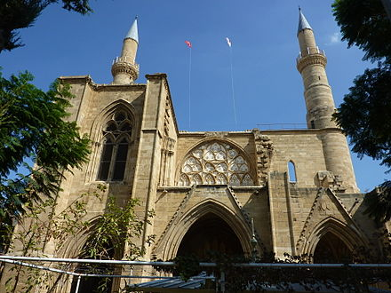 St. Sophia Cathedral, Nicosia, which was built during rule by the House of Lusignan and later converted to a mosque, exemplifies the Gothic architecture in Nicosia. Selimiye Mosque (St. Sophie Cathedral) (36).JPG