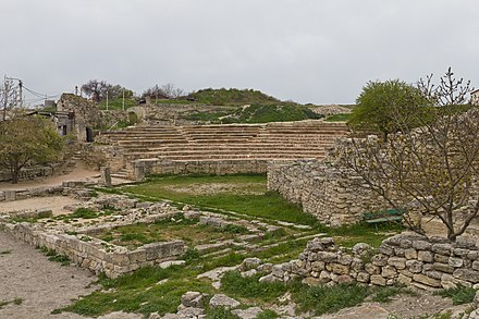 The ruins of the ancient Greek theatre in Chersonesos Taurica