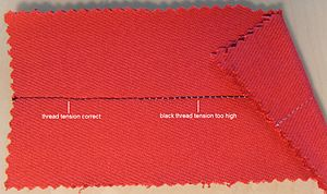 Lockstitch - Thread tension correct and incorrect