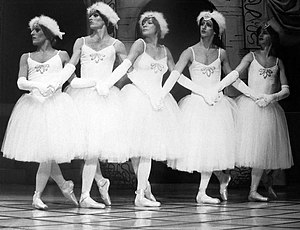 "Les Ballets Trockadero de Monte Carlo - The troupe performs with Shirley MacLaine (center) on her 1977 television special ""Where Do We Go From Here?"""