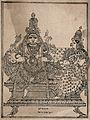 Shiva holding a deer, with his consort Parvati. Transfer lit Wellcome V0044935.jpg