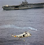 Sikorsky SH-3D Sea King of HS-3 recovers Apollo 9 astronaut off USS Guadalcanal (LPH-7) on 13 March 1969 (S69-20092).jpg
