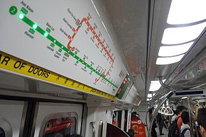 Mass Rapid Transit (Singapore) - An SMRT Active Route Map Information System panel showing the current location of a train and upcoming stops