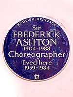 Sir FREDERICK ASHTON 1904-1988 Choreographer lived here 1959-1984.jpg