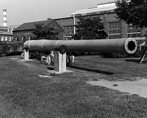 "16""/50 caliber Mark 2 gun - 16""/50 Mark 2 gun on display at the Washington Navy Yard."