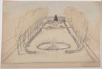 The Puritan (Springfield, Massachusetts) - A perspective sketch of Stearns Square by Stanford White, showing the statue's original placement along with the bench, trails, and Turtle Fountain. A tree now stands in its place at the original location.