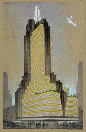 Nikolai Vasilyevich Vasilyev - Skyscraper Study for NYC (c.1931)