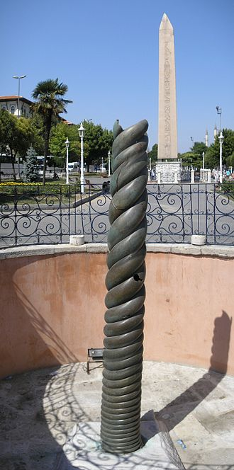 Hippodrome of Constantinople - The Serpent Column (front) with the Obelisk of Thutmose III (back)