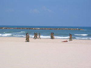 Soldiers cleaning beach