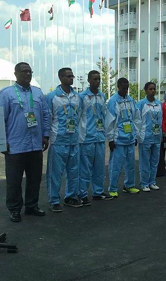 Somalia national taekwondo team - Somali taekwondo national team at the rising flag of Somalia in Palembang, Indonesia. Islamic games 2013.