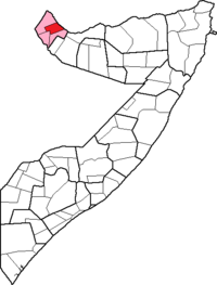 Location of Lughaya District within the Awdal region.