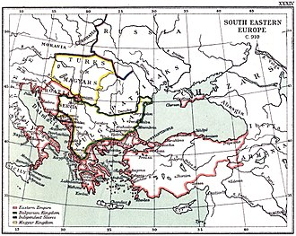 Tomislav of Croatia - Map of the Southeast Europe in 910.