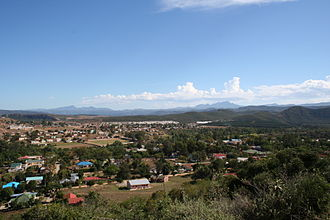 Township (South Africa) - The town of Hankey (foreground), with accompanying township (background) on the edge of the town.