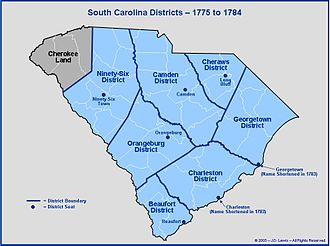 Bloody Bill Cunningham - The district and county lines of South Carolina until 1784.