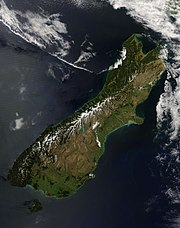 Satellite view of South Island