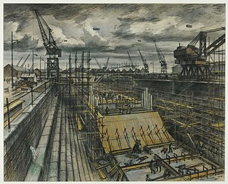Alan Sorrell - Southampton Dock, 1944, (Tate)