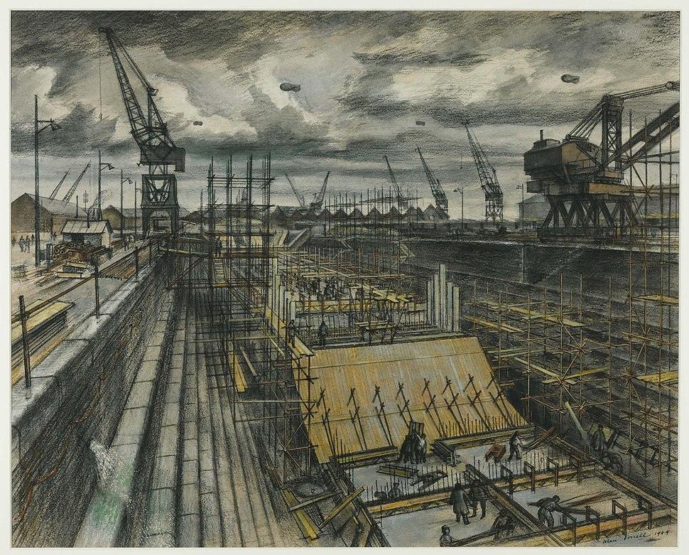 Southampton Dock by Alan Sorrell, 1944, (Tate N05731)