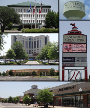 Southaven, Mississippi - From top to bottom and left to right: Southaven city hall, Southaven water tower, Baptist Memorial Hospital-DeSoto, Snowden Grove Park, Lander's Center, and Southaven Towne Center