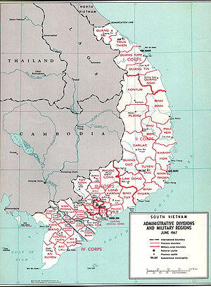Administrative divisions and military regions of South Vietnam in June 1967.