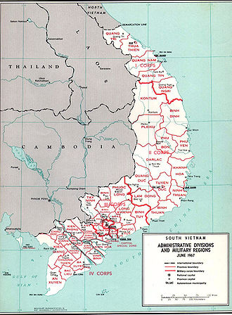Republic of Vietnam Military Forces - Administrative divisions and military regions of South Vietnam in June 1967.