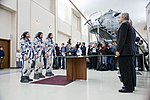 Soyuz MS-12 crew members report to space officials in Star City, Russia.jpg