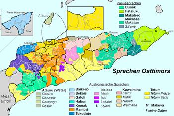 Principali gruppi linguistici a Timor Est[13]