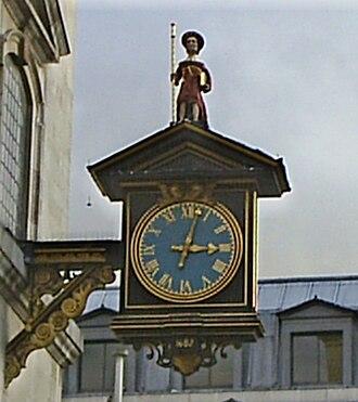 St James Garlickhythe - 1988 replica of 1682 clock