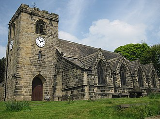 Rawdon, West Yorkshire - Image: St Peter's Church Rawdon tower clocks 11 May 2017`