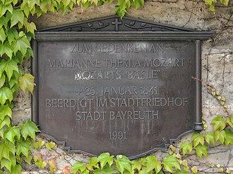 Maria Anna Thekla Mozart - Memorial plate at the municipal cemetery.