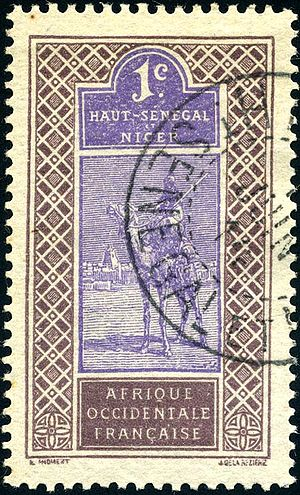 Upper Senegal and Niger - Camel and rider design on 1-centime stamp from 1914.