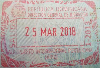 Visa policy of the Dominican Republic - Image: Stamp of Dominican Republic 2018