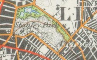 Stanley Park, Liverpool - A map of Stanley Park from 1947