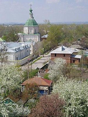 Starocherkasskaya - Cherkassk houses and Petropavlovsk Church seen from the bell tower of the Resurrection Cathedral
