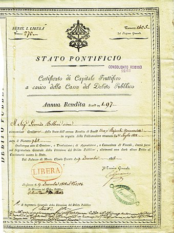 Bond of the Papal States, issued 9 December 1818. Stato Pontificio 1818.jpg