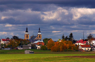 Stawiski - Stawiski panorama with the view of Church at the Main Square